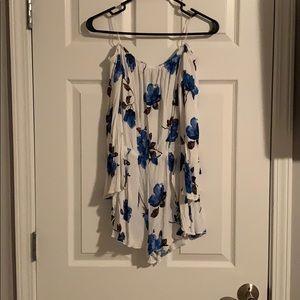 Long sleeve white blue floral romper